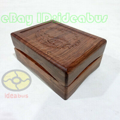 "Rosewood with Engraved Chinese Crane Jewelry Pendant Case Gift Box(4.5""x3.5""x2"")"