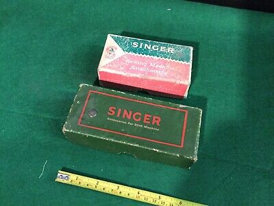 2 Vintage Original Singer Boxes & Assortment Of Sewing Machine Parts .99p