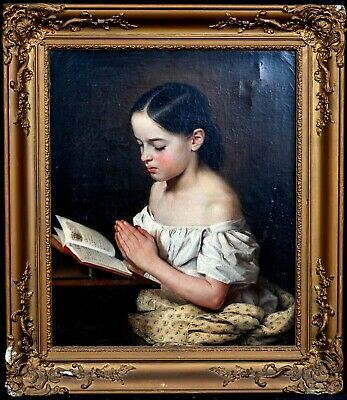 Large 19th Century German Girl Portrait The Morning Prayer EMILY SCHMACK