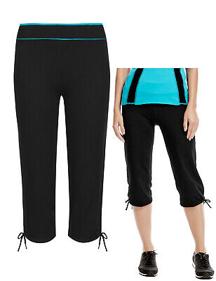 BNWT M&S Black Teal Cropped Joggers Jogging Bottoms Leggings Size 24