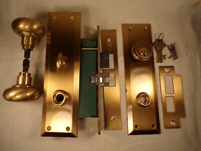 Vintage Mortise Lock w/ Bronze Escutcheon Knobs Spindle Working Key Hardware
