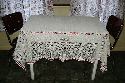 """LOVELY VINTAGE WHITE HAND CROCHET TABLECLOTH WITH RED BORDER 60"""" x 46"""""""