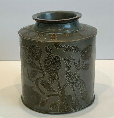 Antique Chinese Pewter Tea Caddy Canister Incised Ornate All-Over Decoration