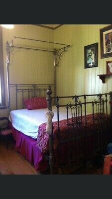 1880's Antique 1/2 Tester DBL Chrome Bed. Ornate and Genuine