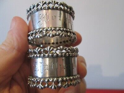 Pair Antique STERLING - NAPKIN RINGS by TOWLE - MOTHER & FATHER SET Excellent