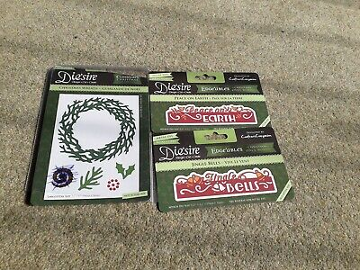 Bundle Desire Christmas Edgeables Words + Wreath Die Sets *great* upto 5.25""