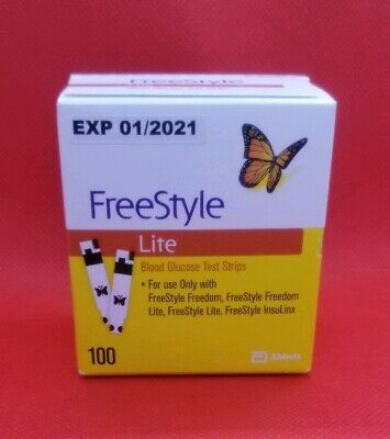 Freestyle Lite Test Strip 100 Cnt Exp 01/2021 Brand New Sealed *Free Ship