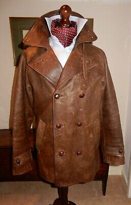 Polo by Ralph Lauren, double-breasted, distressed cowhide vintage-style overcoat