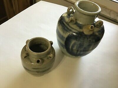 2 Antique Chinese glazed clay hanging water vessels Qing Dynasty RED WAX SEALS