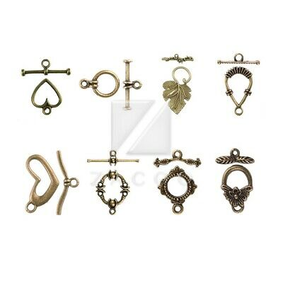 5 Antique Brass Plated Jumbo Lily Pad Toggle Clasps Findings 40190