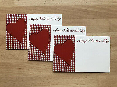 12 Happy Valentines Day Red Gingham Heart Gift Card Tag