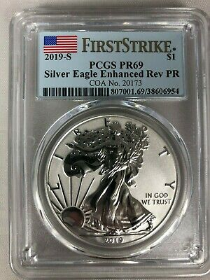 2019-S Silver Eagle Dollar Enhanced Reverse Proof PR69 PCGS FS GOLD SHIELD 20173