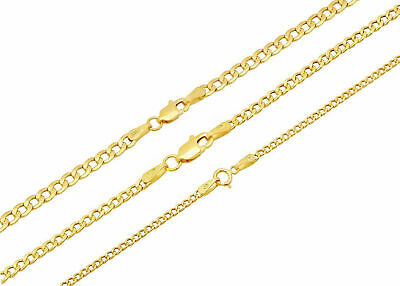"""10k Yellow Gold Cuban Curb Link Chain Necklace 2mm-3.5mm Size 16""""-30"""""""