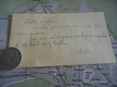 1962 original autograph Walter Wotzke Hahndorf Gallery South Australia with note