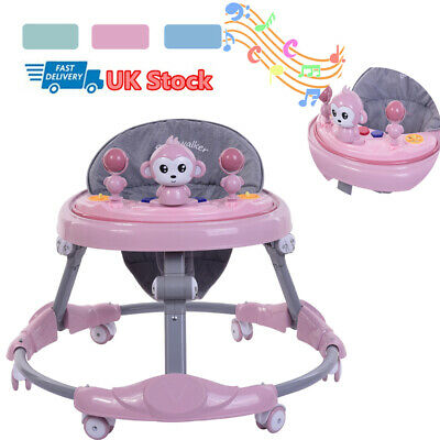Baby Walker First Steps Push Along Bouncer Musical Ride On Car Melody Girls Boys