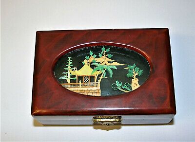 Vintage Oriental Wooden Diorama Lid Box Dark Red Lacquer with Red Silk Lining