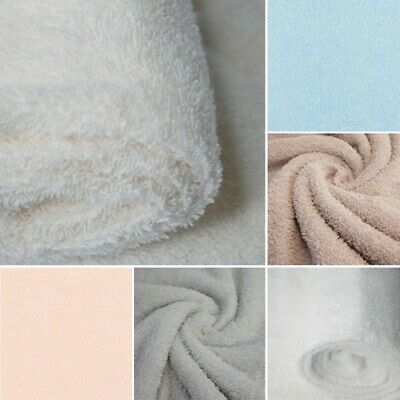 Plain Coloured Towelling Fabric Double Sided Cotton Rich Loop 150cm Wide