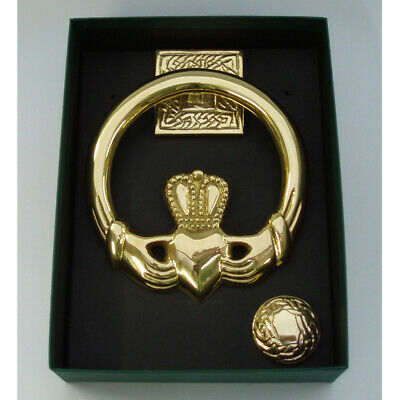 Door Knocker Large Claddagh Brass  Square Back Measures 5.5 inches x 5 inches