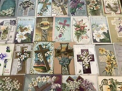 "LOT of 25 BEAUTIFUL Antique~"" EASTER CROSSES"" with Flowers CROSS POSTCARDS-p362"