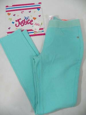 ~JUSTICE~ Girls Size 12 Turquoise Mid Rise Soft & Stretchy Leggings Pull On NEW