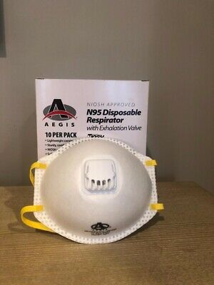 N95 Disposable Respirator with Exhalation Valve, Standard, N95, 10 PACK