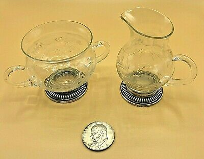 Antique Vintage Whiting Sterling Silver Etched Glass Creamer Cream & Sugar Set