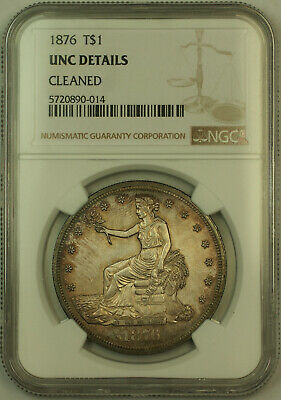 1876 Trade Silver Dollar $1 NGC UNC Details (KH)