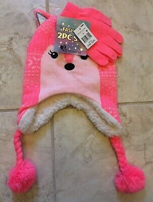 Girls Fox Winter Hat Gloves Set 2 Piece Pink Knit NEW Youth One Size Christmas