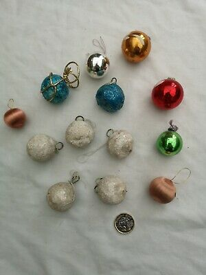 Job Lot 13 Unusual Vintage Xmas Decorations/Baubles Inc Glass