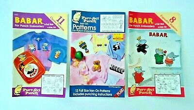 3 Purr-Fect (Perfect) Punch Iron-On Embroidery Pattern Books 32 Patterns Unused