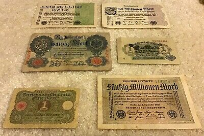 Lot Of 6 X German Banknotes. All Different. Vintage Notes. Germany.