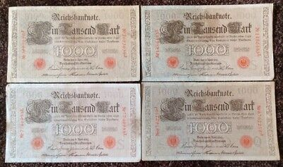 Lot Of 4 X German Banknotes. 4 X 1000 Mark. Reichsbanknote. Dated 1910