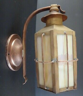 Vintage Copper & Slag Glass Wall Sconce Light Lantern Fixture RESTORED PERFECT