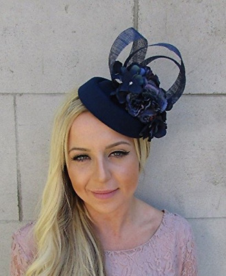 Navy Blue Hydrangea Flower Pillbox Hat Hair Fascinator Clip Races Wedding 5814