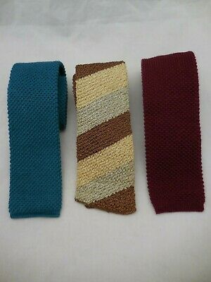3 Vintage Knit Skinny Neck Tie Square End Woven