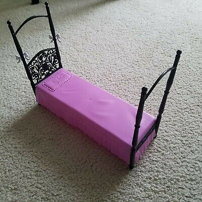 Barbie Purple & Black Dreamhouse 4 Post Canopy Bed Furniture Doll House 2008