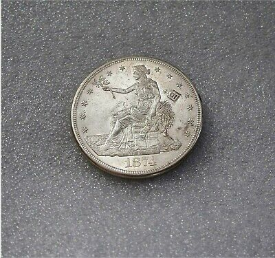 1874-S Silver Trade Dollar Seated Liberty Full Luster Chop  Mark Sharp AU++