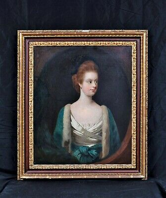 Large 18th Century Portrait of A Girl Miss Grimston by Nathan Drake 1728-1778