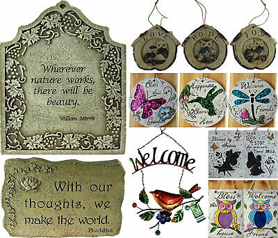 Outdoor Garden Wall Hanging Phrase / Quote Plaques - Various Designs