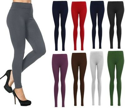 Ladies Women Viscose Plain Stretchy Soft Leggings Elasticated Waist Plus Size