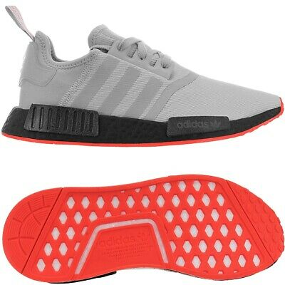 ADIDAS MENS NMD_R1 Boost Trainers Shoes Grey Solar Red
