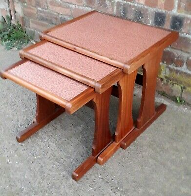 Mid Century G Plan Copper Top Teak Nest Of Tables Vintage Retro