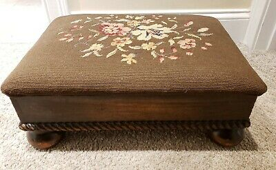 Antique 1800's Needlepoint Footstool Ottoman - J.B. Van Sciver Co. Camden NJ USA