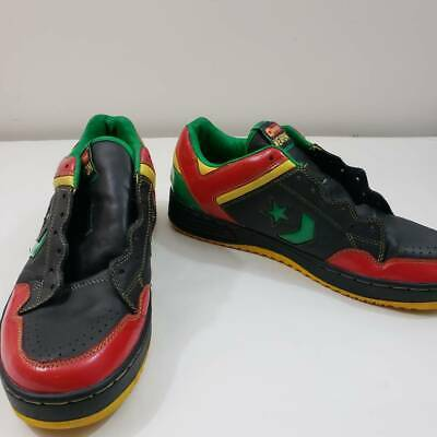 Converse Mens Jamaica Weapon Sneakers Black Red Lace Up Moc Toe Leather 10 EU 44