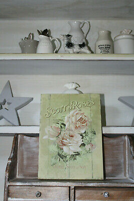 COUNTRY HOUSE SALE English tea rose picture,plaque,distressed antique vintage