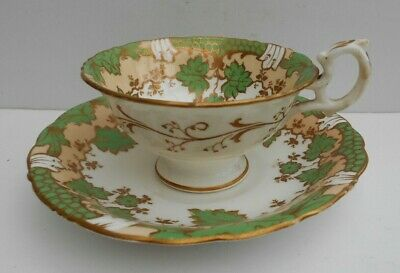 Samuel Alcock Cup Saucer Green Cream And Gilt Floral Decor 5