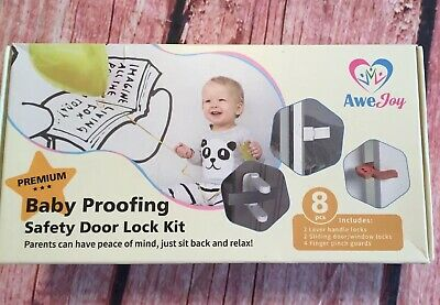 Awe Joy Baby Proofing Safety Door Lock Kit New No Drill Needed