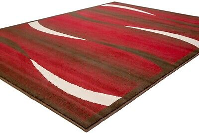 Small - Extra Large Red Chocolate Brown Cream Waves Modern Soft Patterned Rug