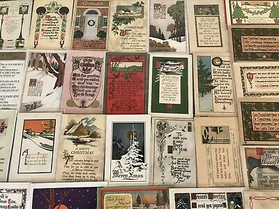 Lot of 35 Early Arts & Crafts Poems CHRISTMAS Collectible 1900's Postcards-p370