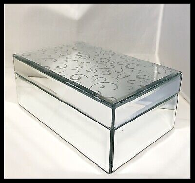 Etched Mirror Jewelry Box New Without Box